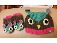 Joules baby knitted owl hat and mittens