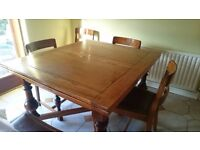 extending dining table, with 6 chairs and matching sideboard, retro