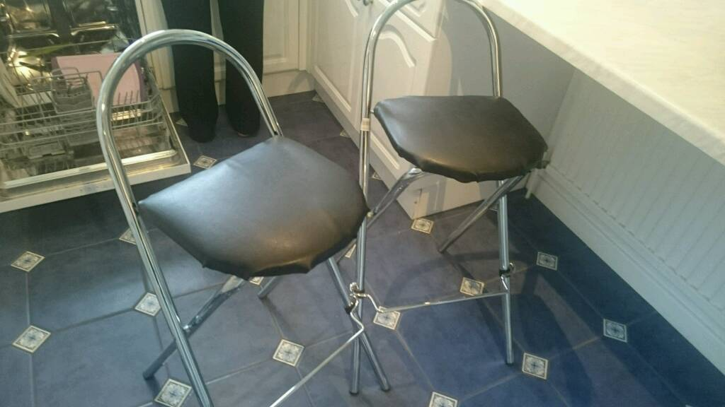 Sensational Folding Bar Stool Pair Black Faux Leather In Ringwood Hampshire Gumtree Caraccident5 Cool Chair Designs And Ideas Caraccident5Info