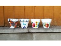 Homemade decorated flower pots