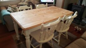 1400mm x 780mm Shabby Chic FarmhouseTable and 4 fiddleback Chairs - Farrow and Ball New White