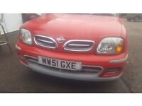 Nissan micra 2001 3door 5speed 4brand new tyrs verey good condition engine and gear box perfect 1.0