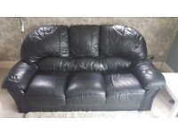 Black Leather 3 Seater Sofa - Can be delivered