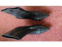 Ladies Faith black leather ankle boots