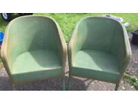 Two original Lloyd loom chairs - light green