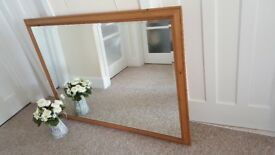 VERY LARGE lovely quality pine framed bevelled mirror on very good