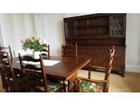 Reproduction Oak dresser, oak dining table and 6 chairs