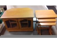 TV Cabinet & a set of 3 Matching tables in oak vaneer