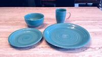 28 piece Teal dinner set