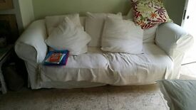 3 bed cream sofa- removable washable covers -lFree