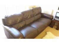 ScS Italian Leather 3 seat seater Sofa Brown Leather