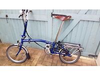 Brompton M6R 2014 with leather saddle and bar grips for sale