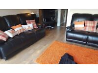 3 + 2 Seater black leather recliner settees
