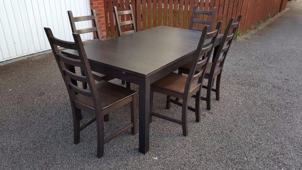 Ikea BJURSTA Extending Table 175cm 260cm 6 Kaustby Chairs FREE