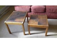 Nest of 3 teak tables with patterned tile tops