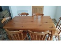 Pine Dining Table and 6 pine chairs