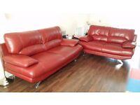 Harveys Samara Red Leather 3 & 2 Seater Sofa Suite