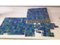 Blue mosaic tiles - bathroom, kitchen, garden - small project