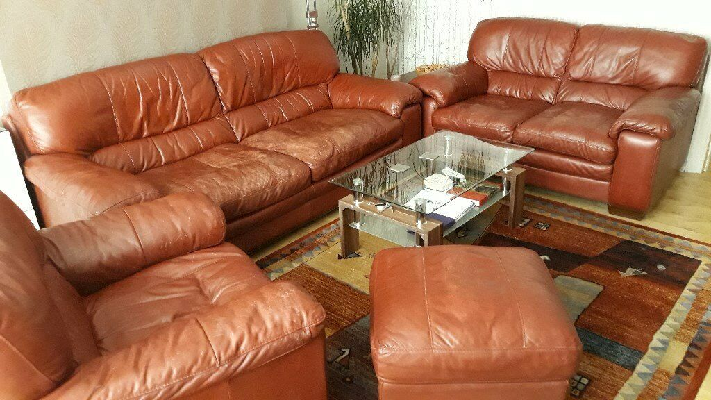 Groovy Leather Sofa Set 3 Seater 2 Seater Armchair And Footstool Contact For Prices On Single Itmes In Bournemouth Dorset Gumtree Gamerscity Chair Design For Home Gamerscityorg