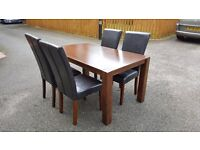 Solid Dark Wood Dining Table & 4 Brown Leather Chairs FREE DELIVERY (02102)