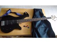Black Yamaha electric bass guitar with strap, soft case and plectrums. Ideal for beginners