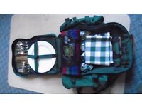Picnic set in backpack WYNNSTER. Never used. All weather material Green.