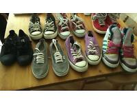 CONVERSE, VANS, NIKE & ADIDAS TRAINERS. 7 PAIRS. SOME NEW. ALL SIZE 6 UK. £60