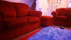 Marks and Spencer large two seater sofa with matching chair and storage pouffe/foot stool
