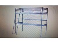 Bunk bed frame with desk