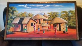 FRAMED AFRICAN THEME PAINTING