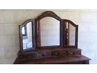 DRESSING TABLE WITH DRAWERS, TRIPLE MIRROR WITH DRAWERS, GREAT PIECE,SUITABLE FOR PAINTING,UPCYCLING