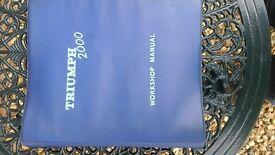 Triumph 2000 Workshop Manual For Sale