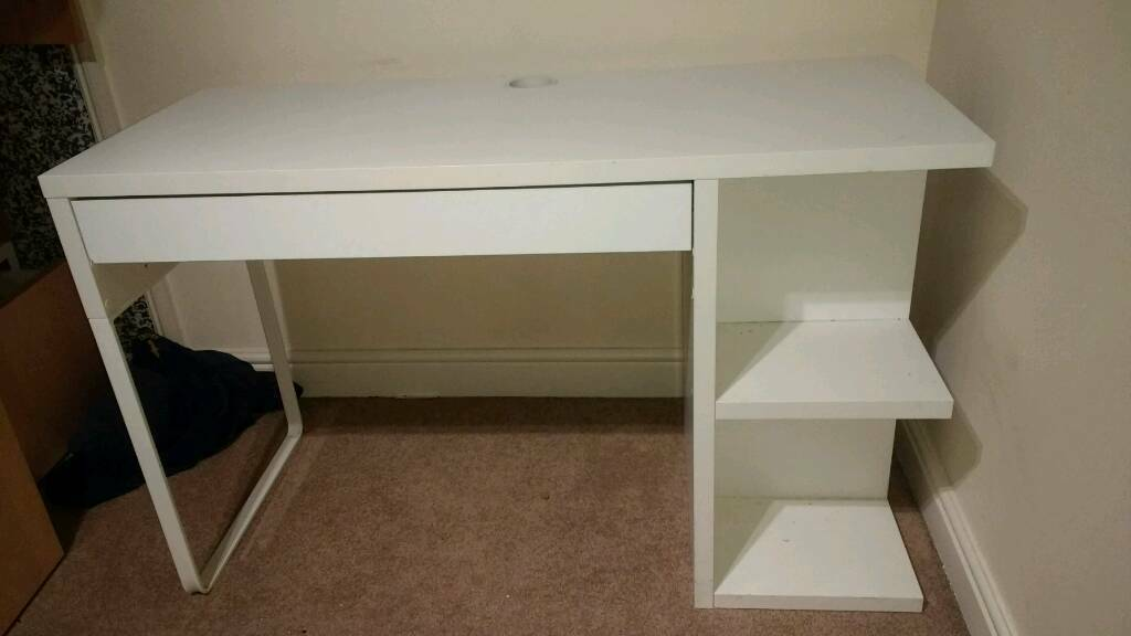 Micke White Ikea Desk With Drawer And Filing Cabinets