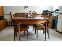 Rare G Plan Dining room table extendable with 8 matching chairs