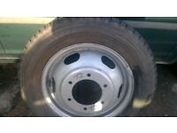 transit wheel and tyre for twin wheel base 185/75/16c good tread/£40
