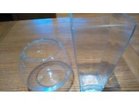 Two clear glass vases