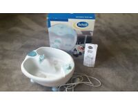 Mains operated Scholl foot spa, boxed, with instructions, and all original attachments.