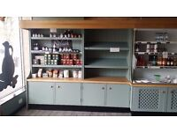 Bespoke hand made shelves , block counter top/ shelves below, wall shelf/ledge. +mica counter tops