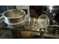 Bakery equipment. Hobart 40 quart stainless steel bowl & tools.