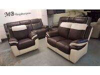 NEW ScS LEO BROWN & WHITE LEATHER 2 SEATER SOFA & ARMCHAIR **CAN DELIVER**