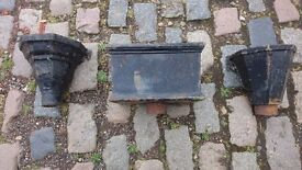 3 ANTIQUE CAST IRON DRAINAGE HOPPERS ALL DIFFERENT HOME GARDEN PATIO PLANTERS DECOR DISPLAY ALL GC