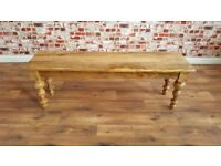 Rustic Farmhouse Kitchen Dining Bench Fruitwood with Turned Legs - Free Delivery
