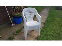 4 Plastic Garden Chairs White