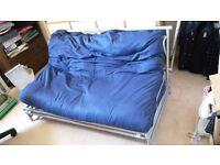 Ikea Double Sofa Bed / Futon (all metal frame with blue mattress)