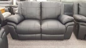 ScS Libra Black Leather 2 Seater Manual Recliner Sofa **CAN DELIVER**