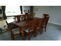 Solid Wood Dining Room Table with 8 chairs