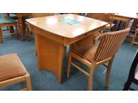 Lovely Art Deco Yew Dining table with 4 chairs, for sale for Strathcarron Hospice