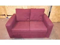 Two Seat Burgundy Fabric Sofa as New