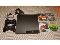 Sony PlayStation 3 Slim 160GB + 2 Controllers, Cables + GTA5, Fifa 2014, Need for Speed games
