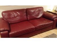 Sofa 3 seater red faux leather good cond will sell £100